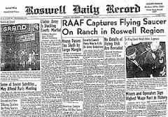 Newspaper account published July 8, 1947 regarding the UFO crash at Roswell, New Mexico.