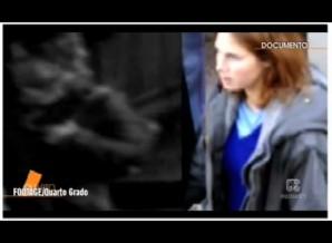 Split Screen Close-up, showing bulging cheek of mystery woman (screen left), versus Amanda Knox (screen right). Notice the bulging is below ear level on the CCTV mystery woman, while Amanda Knox face is slim at ear level.