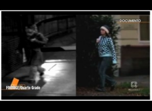 Split Screen; CCTV Mystery person (screen right), Amanda Knox (screen left).