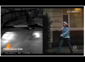 CCTV split screen with CCTV mystery woman, versus Amanda Knox. (time code 20.53.49.35)