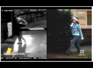 CCTV split screen with CCTV diagonal side-view of mystery woman (left screen) , versus Amanda Knox (walking profile, right screen). (time code 20.53.49.35)