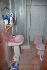 """Cottage bathroom, after police used chemical for blood testing, that turns red after use. This """"wildly misleading"""" photo released to media by prosecution, and reprinted in Italy and the UK tabloids without context."""