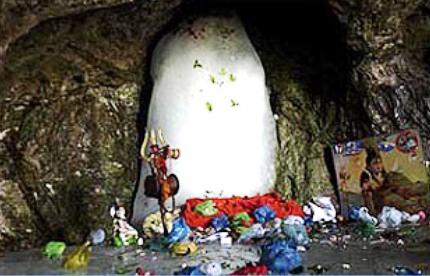 Shiv-lingam at Holy cave of Amarnathji -File Photo