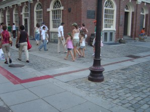 the red-bricked path from Boston