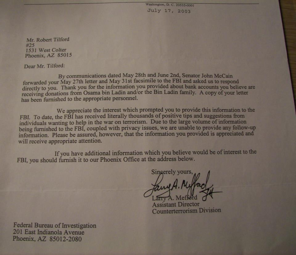 Letter from FBI, dated July 17, 2003  regarding Osama Bin Laden's charitable contributions and bank accounts (revealed here for the first time).