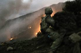 Infantryman under fire in Afghanistan.
