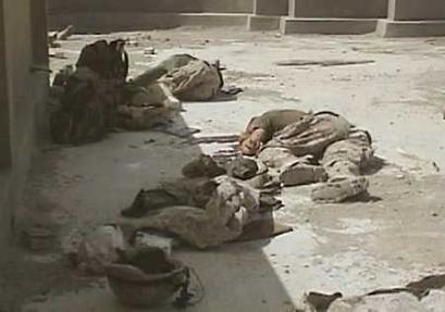 U.S. service members killed in combat - pay the ultimate price. Pictured here Marines killed in Iraq - as part of the global war against terrorism.