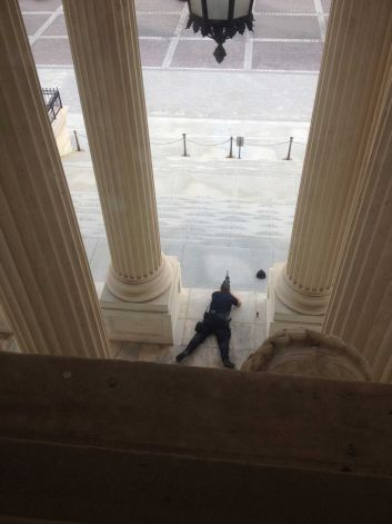 """A """"sniper"""" takes aim at the Capitol building during the lock-down last week. He is armed with a high powered rifle with optical scope. Shocking to consider that he was not being paid at the time - because of the shutdown in government. Now comes the SHIELD Act which would authorize that he """"will"""" be paid - the uncertainty is """"when"""" - Congress still has to figure that out."""