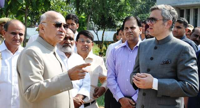 Chief Minister, Omar Abdullah and Union Home Minister, Sushil Kumar Shinde visiting Hiranagar Police Station in Kathua District-Scoop News