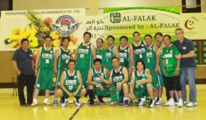 Al Ittefaq Steel Product Company cagers poses after trashing Al Majdouie team, 86-66.