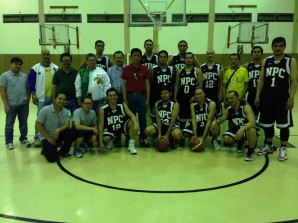 Premier team, National Pipe Company led by Head Coach Gil Rivera (center) won against ARCC-EEI, 92-88.