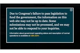 Message regarding the government shutdown on the White House website.