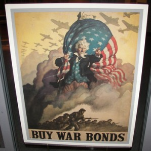 """Rare WWII """"Buy War Bonds"""" poster on display at the Tampa Bay History Museum."""