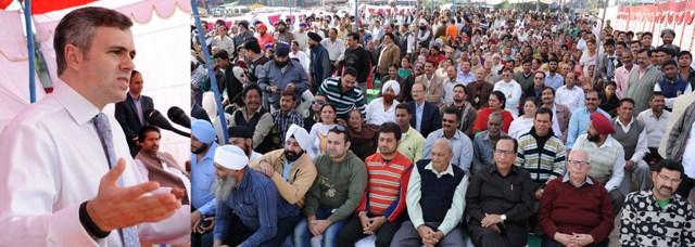 JK CM Omar addressing a gathering