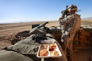 """""""We must remember to give thanks to the men and women serving in the military who commit their lives to keeping us safe here at home"""", said Rep. Speier. Pictired here: Soldier celebrates Thanksgiving in Afghanistan 2012 while watching for an attack by the enemy."""