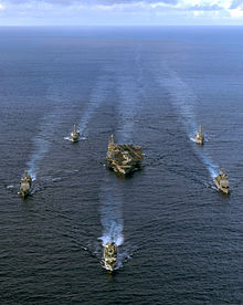 The Harry S. Truman Carrier Strike Group somewhere in the Pacific.