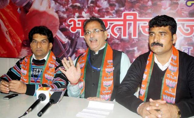 BJP State General Secretary Kavinder Gupta, addressing a press conference