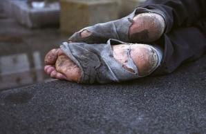 A homeless man's feet in Astin, Texas.