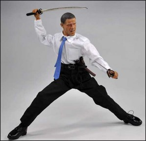 President Obama holding a samurai sword is ready to defeat the enemies of the United States - whoever they may be.