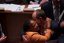 Christiane Taubira in the National Assembly after the vote on the Gay Marriage law.