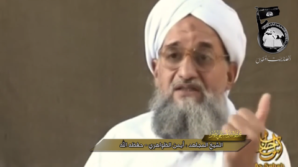 A video posted online Saturday by Egyptian Islamists included undated footage of an interview with Ayman al-Zawahiri produced by As-Sahab, Al Qaeda's media wing. Picture curtesy of AL-Qaeda.
