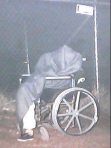 A homeless, disabled, uninsured man sleeps outside CASS in Phoenix, Arizona in December 2009.