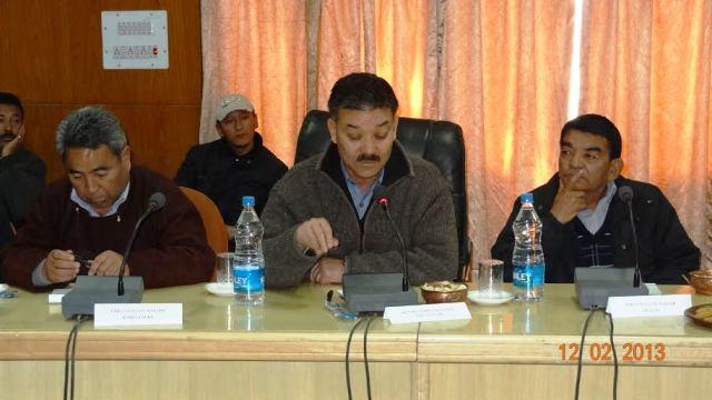 CEC, LAHDC, Leh Rigzin Spalbar chairing a meeting