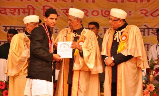 Master Gourav of Shri Mata Vaishno Devi Gurukul secures first position in the University