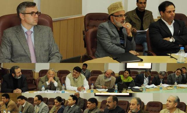JK CM Omar Abdulla chairing a meeting