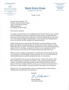 Senator Bernie Sanders letter to NSA.