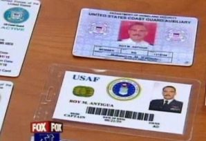 An assocrtment of military ID's used by a impersonator that allowed him access to a U.S. Coast Guard base in 2012 while carrying a sidearm.