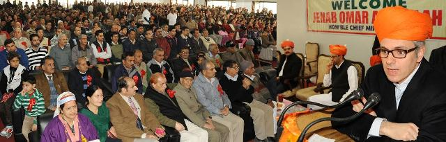 JK CM addressing Pandit conference