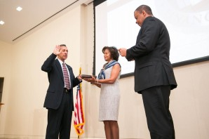 Former Representative Watt being sworn in as the new Director of FHFA only minutes after announcing his resignation. It is unclear if he will double dip on both salaries during the month on January 2014.