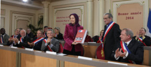 Several mayors and representatives in attendance delivered the statement of support to Mrs. Maryam Rajavi, the president-elect of the Iranian Resistance.