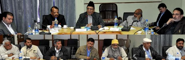 Minister for Finance and Ladakh Affairs, Abdul Rahim Rather in a meeting