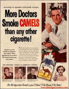 As of the 1950's, nearly half of the population smoked cigarettes. That number has declined, especially since the Surgeon General's official report in 1964 that using tobacco causes cancer.
