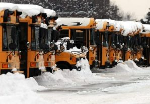 Ice covered school buses in Indiana.
