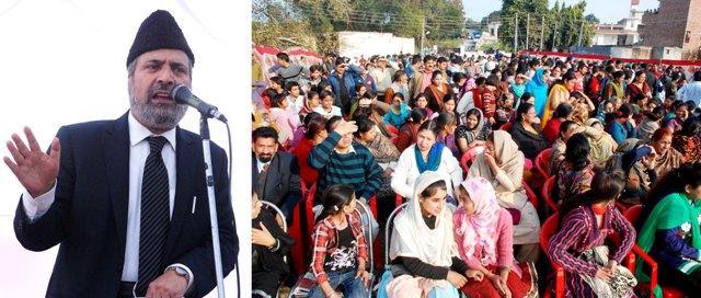 senior leader Muzaffer Hussein Baig addressing a public gathering