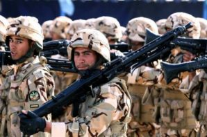 Elite members of the Iranian Army during military drills in Tehran, Iran. Soldier pictured here with light machine guns.