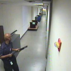 CCTV video footage of Washington Navy Yard shooter Aaron Alexis hunting victims on September 16, 2014 with a Remington shotgun in hand.