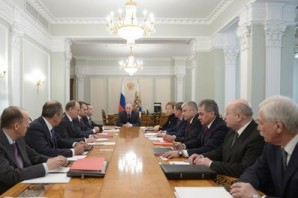Putin meets with Security Council members, including Mikhail Fradkov the Director of  Russia's  Foreign Intelligence Agency (SVR).