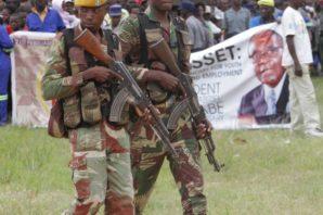 Armed soldiers loyal to president Robert Mugabe in Zimbabwe.
