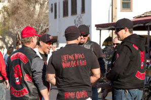 Members of the notorious Laffing Devils motorcycle gang talk smack to each other at a meeting of members in San Diego, California in 2013.