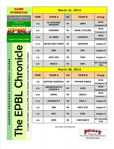 Schedule of Games for March 21 & 28, 2014