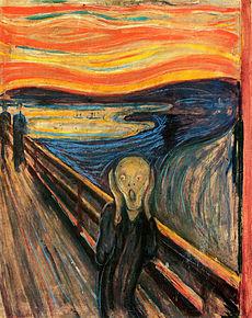 The She Scream (Norwegian: Skrik) an Expressionist painting by Norwegian artist Edvard Munch