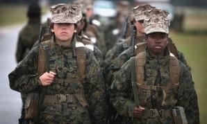 Female Marines during combat training exercise.