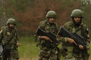 Pakistani military with state of the art weapons and equipment, largely provided by the US.