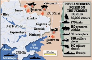 Russian troop positions and military strength along the boarder with Ukraine.