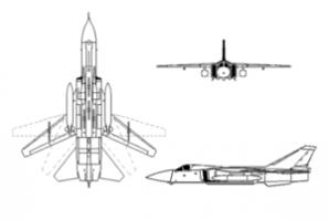 The Russian made Sukhoi Su-24 Fencer aircraft.