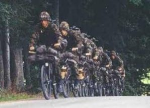 Swiss Infantry using bicycles to quickly move troops in the 1980's.